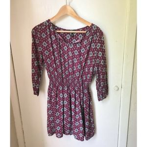 Forever 21 Maroon Boho Printed Mini Dress - Size L